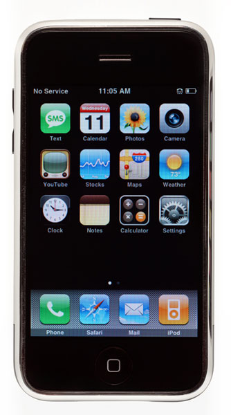Jonathan Ive, iPhone, 2007; optical quality glass and other materials; 4 1/2 in. x 2 3/8 in. x 7/16 in. (11.5 cm x 6.1 cm x 1.16 cm); SFMOMA, gift of Apple Inc.; © Apple Inc.