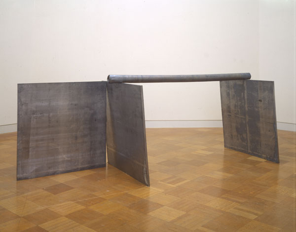 Richard Serra, Right Angle Plus One, 1969; lead antimony; 48 in. x 48 in. x 1 in. (121.92 cm x 121.92 cm x 2.54 cm); Collection SFMOMA, purchased through a gift of the Modern Art Council, Fund of the 80s and Board Designated Accessions Funds; © 2009 Richard Serra / Artists Rights Society (ARS), New York