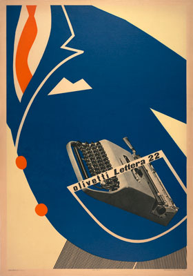 Olivetti in your pocket? Edigio Bonfante, _Poster_, 1953. Lithograph mounted on canvas.