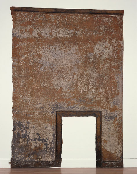 Robert Overby, _Hall painting, first floor_, 1971. Latex rubber, plaster, paint and burnt wood.