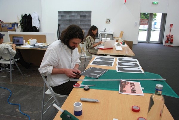 Production on display: Jim Ricks and Claudia Djabbari during the first day of the Fair