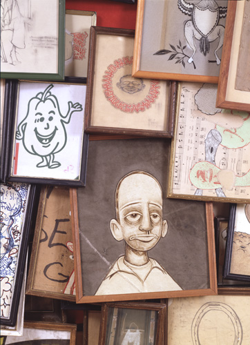 Barry McGee, _Untitled_, (detail) 1996. Mixed media.