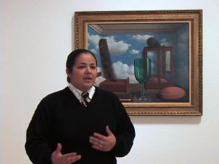 Patricia Gutierrez, SFMOMA guard and artist, explains her connection to Rene Magritte's Les valeurs personnelles (Personal Values).
