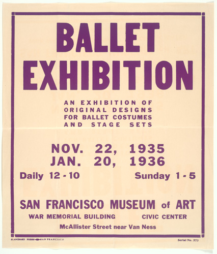 Original Cosutme and Stage Designs for the Ballet, 1935; exhibition poster; designed by Blanchard Press