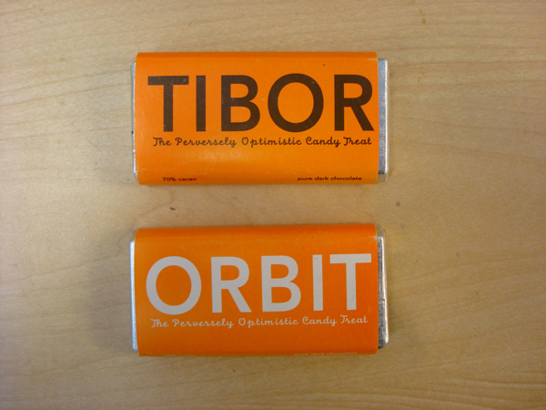 Tibor (The Perversely Optimistic Candy Treat), 1999; chocolate bars; designed by Tibor Kalman, M&Co