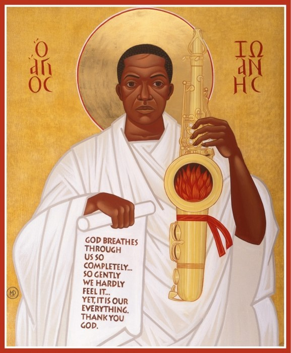 Icon painting of Saint John Coltrane by Mark Dukes