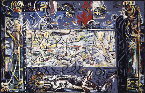 Jackson Pollock, _Guardians of the Secret_ 48 3/8 in. x 75 3/8 in. (122.89 cm x 191.47 cm) Acquired 1945 Collection SFMOMA Albert M. Bender Collection, Albert M. Bender Bequest Fund purchase © Pollock-Krasner Foundation / Artists Rights Society (ARS), New York 45.1308