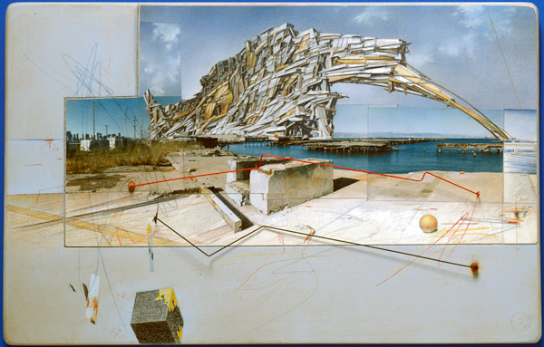 Lebbeus Woods, _San Francisco Project: Inhabiting the Quake, Quake City_, 1995. Graphite, colored pencil, pastel, acrylic, chromogenic print, paper, wood, and metal.