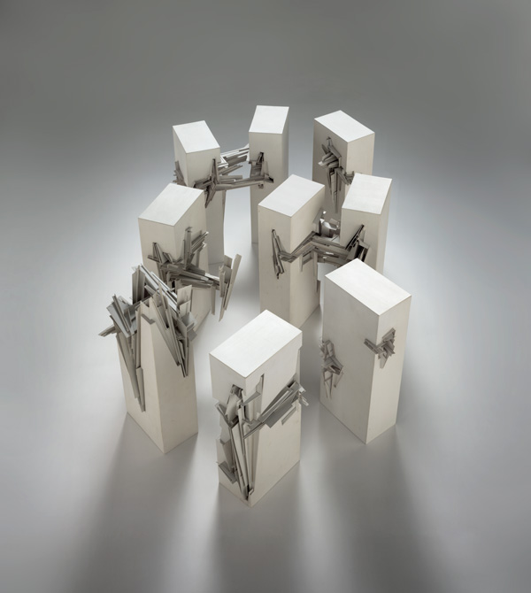 Lebbeus Woods, _Nine Reconstructed Boxes_, 1999. Eight polystyrene models, dimensions variable.