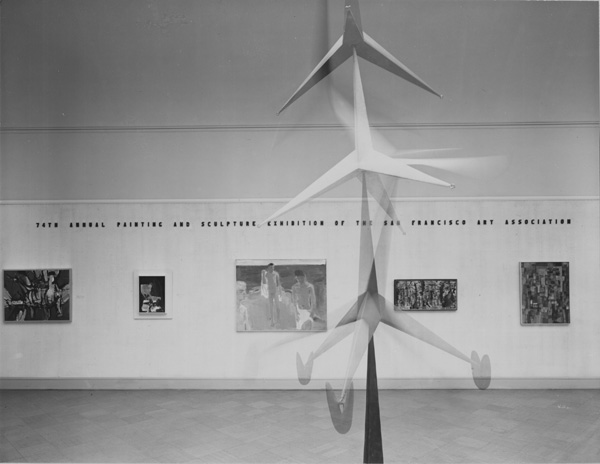 Installation view of the _74th Annual Painting and Sculpture Exhibition of the San Francisco Art Association, 1955. Goreground: Robert B Howard's _Rocket_, 1955. BAckground: David Park's _Bathers_ (1954) surrounded by abstract paintings. SFMOMA Archives.