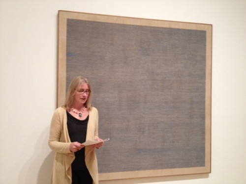 Kathryn VanDyke with Agnes Martin's _Falling Blue_