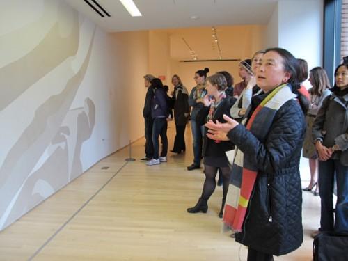 Hung Liu with Rosana Casrillo Díaz's _Untitled_.