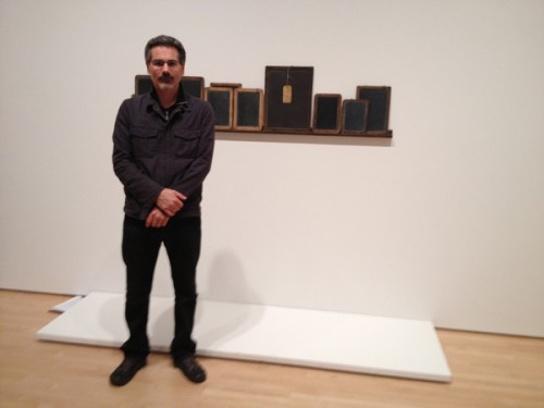 Chris Finley with Vija Celmins's _Blackboard Tableau #1_