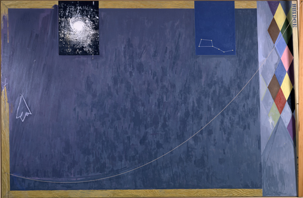 Jasper Johns, Bridge, 1997. Oil on canvas with objects, 78 x 118 x 7 5/8 in. (198.1 x 299.7 x 19.4 cm). Collection of Helen and Charles Schwab, promised gift to the San Francisco Museum of Modern Art Photo: San Francisco Museum of Modern Art