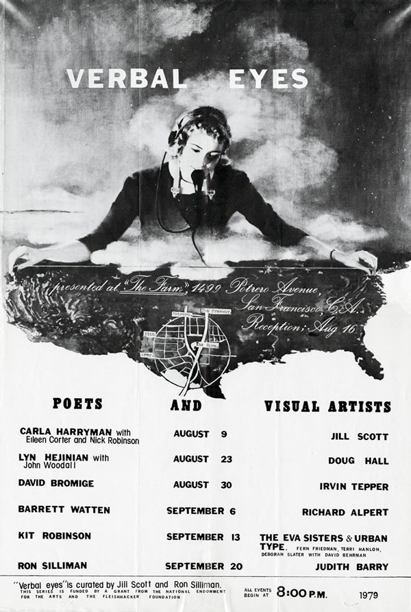 Poster for _Verbal Eyes_August 9 - September 20, 1979, The Farm, San Francisco