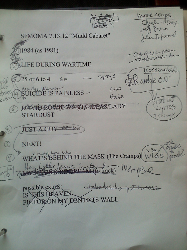 Ann Magnuson's draft set list for her Mudd Club cabaret