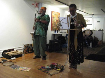 Oluyemi & Ijeoma Thomas performing at the Joyce Gordon Gallery 9/12/10 (photo by Duane Deterville)