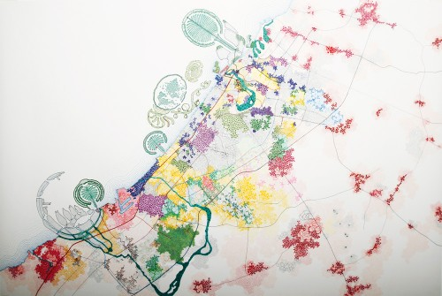 Tiffany Chung, Dubai 2020, 2010. Micropigment ink, oil- and alcohol-based marker on paper. Private collection.
