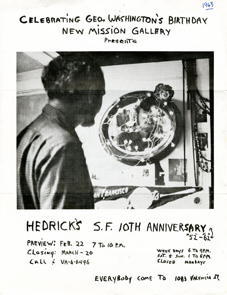 Wally Hedrick Solo Show 1963 New Mission Gallery San Francisco Flyer 11 In X 8 2794 Cm 2032