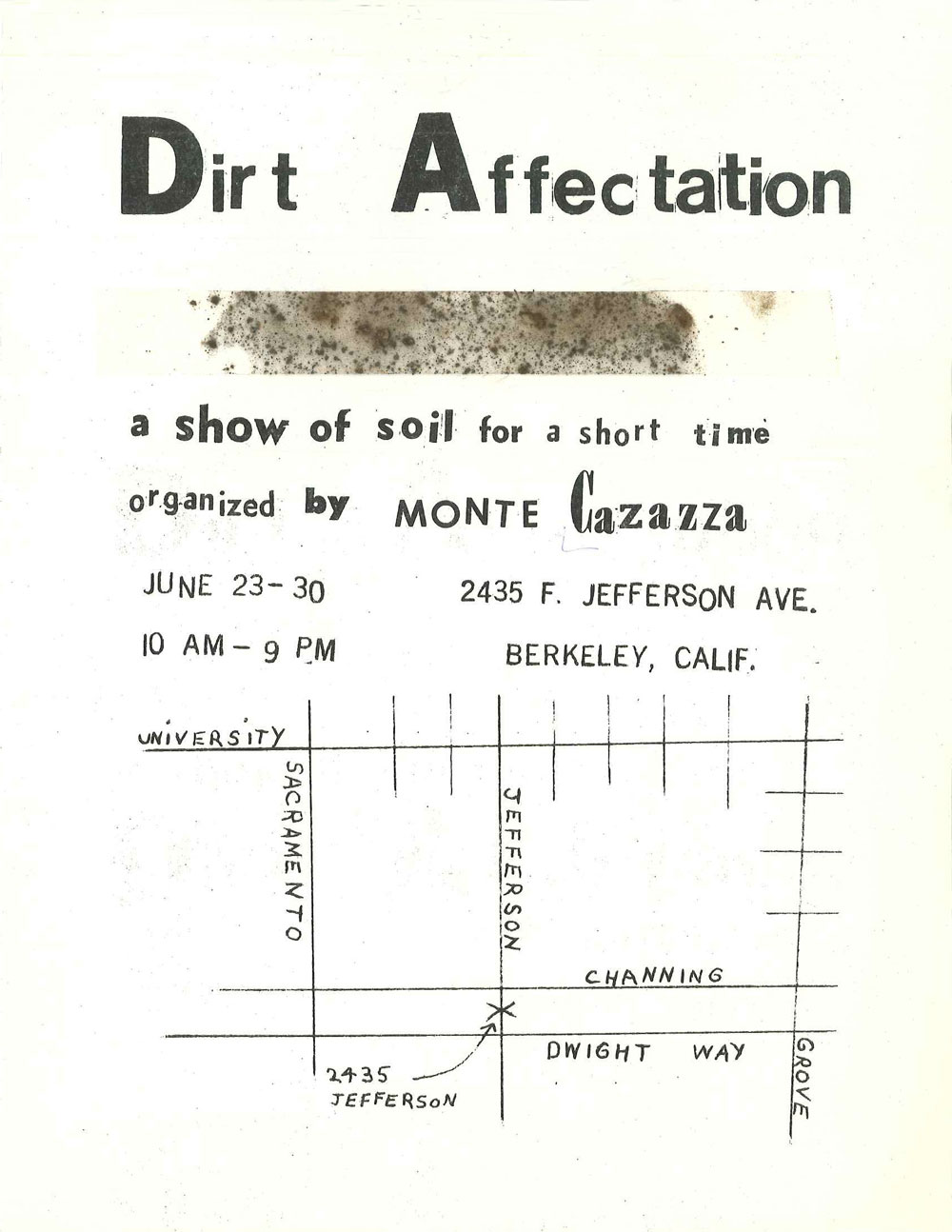 """_Dirt Affectation_June 1971_flyer with cellophane tape and dirt, 11 x 8 1/2"""""""