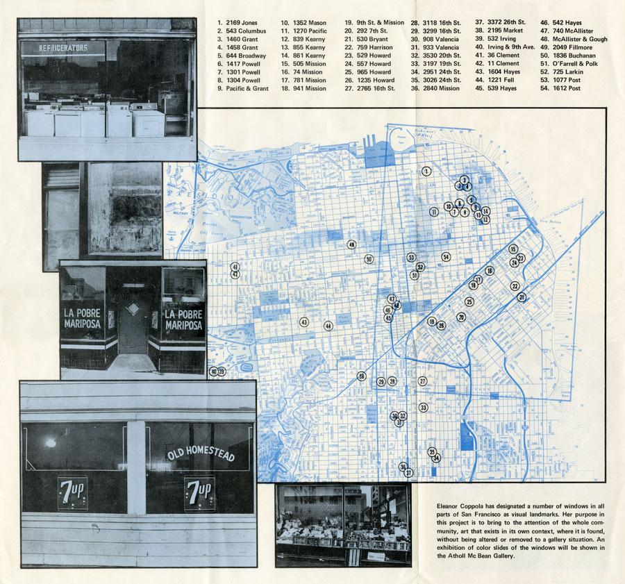 Eleanor Coppola, _Windows_, February 16 - March 17, 1973, take-away folded map for visitors; photos: Rita Mandelman, printed: San Francisco Art Institute; 14 in. x 20 in. (35.56 cm x 50.8 cm)