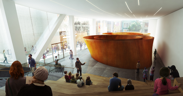 A large glass-walled gallery (interior view) on ground level with free public access will beckon passersby on Howard Street;  rendering: courtesy Snøhetta