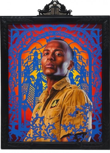 Kehinde Wiley, Kalkidan Mashasha II (The World Stage: Israel), 2011.  Oil on canvas, 56 ⅞ x 41 ½ in. (framed).  Private collection. Courtesy of Roberts & Tilton, Culver City, California.