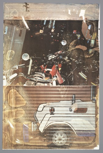 Robert Rauschenberg, Technology (Tribute 21), 1994; print; vegetable dye water transfer print on paper, 41 in. x 27 in. (104.14 cm x 68.58 cm); Collection SFMOMA, Gift of Felissimo; © Robert Rauschenberg Foundation / Licensed by VAGA, New York, NY