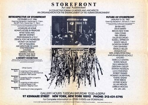 Future of Storefront, January 8, 1987 – January 30, 1987; Courtesy Storefront for Art and Architecture