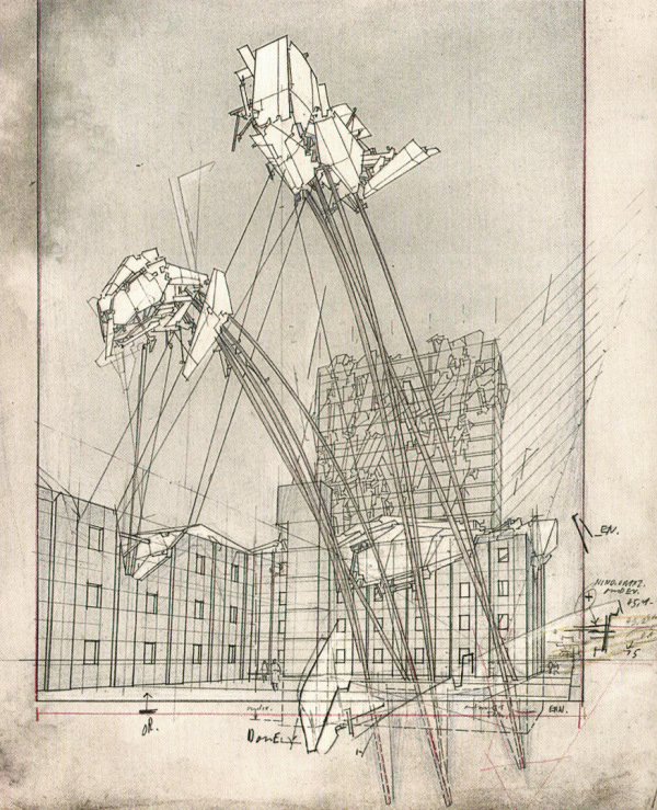 Lebbeus Woods, Untitled [War and Architecture, High Houses], 1993; graphite and colored pencil on board. Courtesy Aleksandra Wagner.