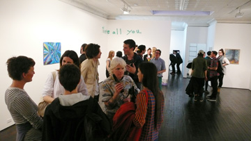Trisha Donnelly, Tauba Auerbach, Alicia McCarthy, Xylor Jane, and others at Alicia McCarthy's opening in Manhattan.