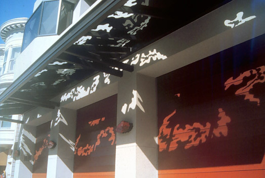 Al Wong, _Light Clouds_, 1994, Ceramic frit marquee glass and Plexiglas lanterns, Fire Station #2, 1340 Powell Street San Francisco; 42' x 7'; Commissioned by the San Francisco Arts Commission on behalf of the San Francisco Fire Department; © Al Wong