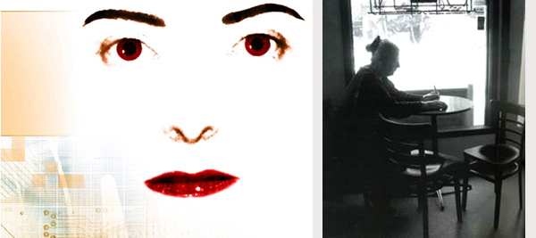 Lynn Hershman Leeson, Agent Ruby (detail), 1999-2002 (left); Moira Roth, Photo: Laura Richard Janku (right)