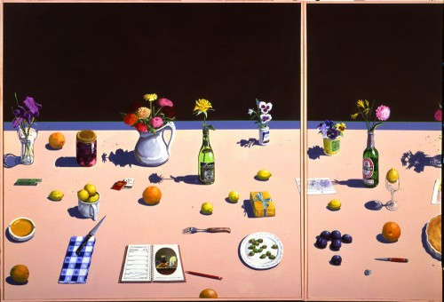 Paul Wonner, Dutch Still Life with Lemon Tart and Engagement Calendar, 1979