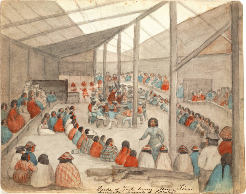 Watercolor by James G. Swan depicting the Klallam people of chief Chetzemoka at Port Townsend, with one of Chetzemoka's wives distributing potlatch.